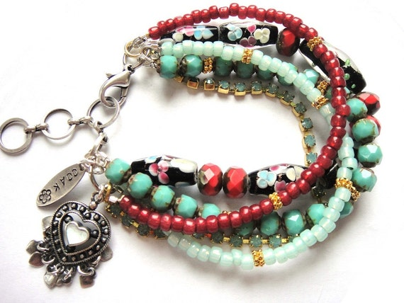 Bohemian hippie - beaded gypsy heart bracelet - turquoise and red coral