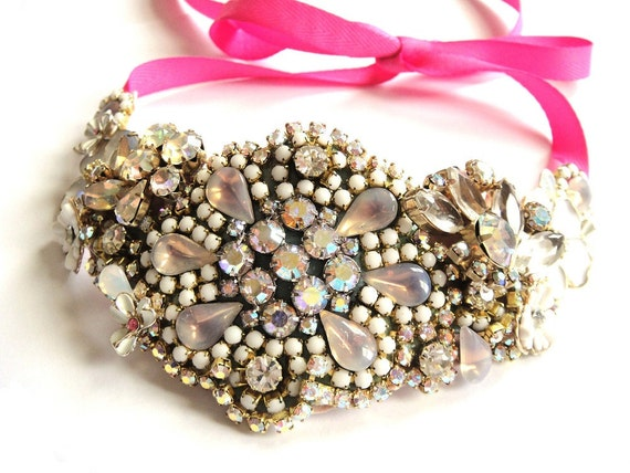 Wedding necklace - Bridal Rhinestone bib necklace - chrystal statement piece in delicate pink and white - OOAKjewelz Couture Collection