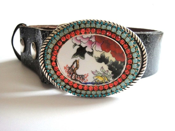 Bohemian hippie leather buckle belt - oriental ethnic gypsy with Chinese pottery and sparkling Swarovski rhinestones