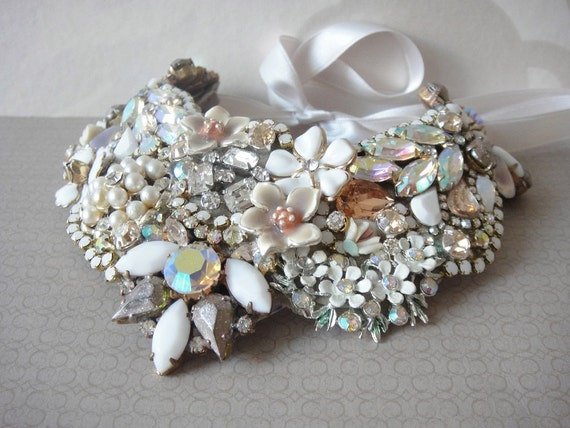 Bib statement necklace - OOAKjewelz Couture Line - rhinestones and vintage flower jewelry collage - bridal wedding jewelry