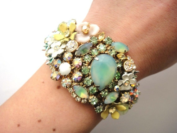 Bridal rhinestone cuff - vintage collage wedding jewelry in mint white and yellow - shabby chic flowers wrist corsage - bridesmaids gift
