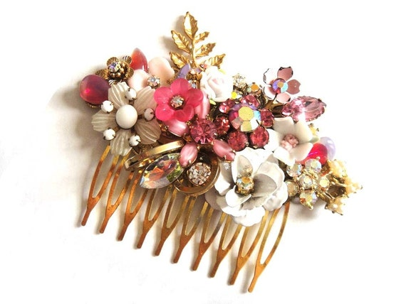 Pink bridal hair comb - wedding hair accessory - wedding haircomb - shabby chic vintage collage head piece