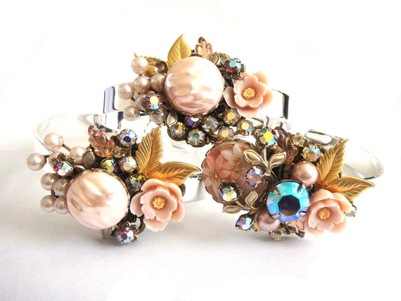 Bridesmaids gift set of 3 bracelets in shabby chic vintage collage style - delicate pastel pink - flowers and pearls - wedding jewelry