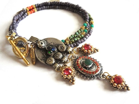 Bohemian hippie gypsy necklace series SS2012 - NO.2 - oriental inspired long beaded necklace in purple orange and emerald with rhinestones