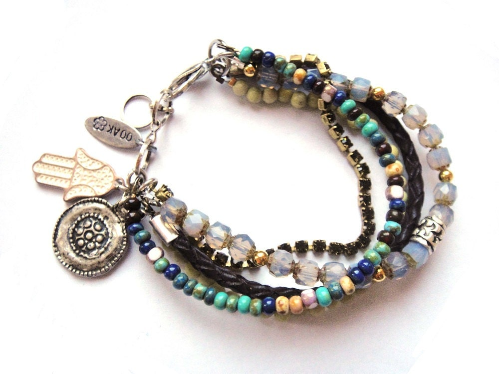 bohemian hippie bracelet beaded strands by ooakjewelz