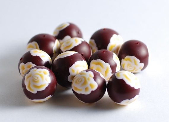 Dark red polymer clay beads with white and yellow roses - 12 pcs