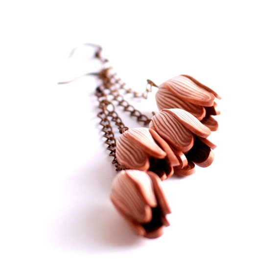 Copper earrings - brown tulip flowers pair in extra long chain