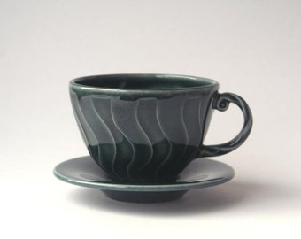 Blue Tea cup with Saucer - Wheel thrown stoneware