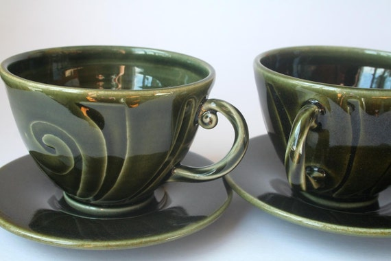 A Pair of Green Stoneware Teacups with Saucers - Wheel thrown