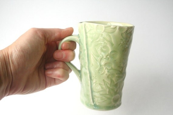Celadon Green Mug with Australian Flannel Flower Design