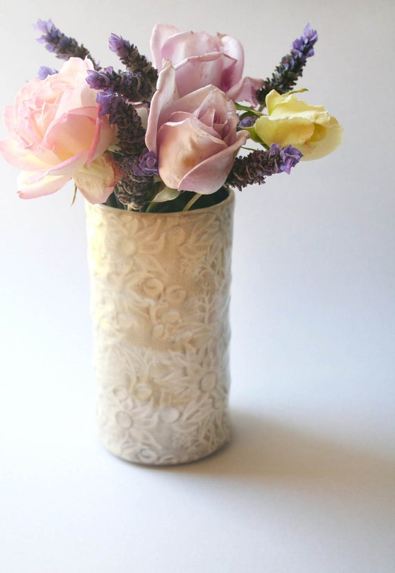 Items similar to White and buff Medium vase with Flannel ...