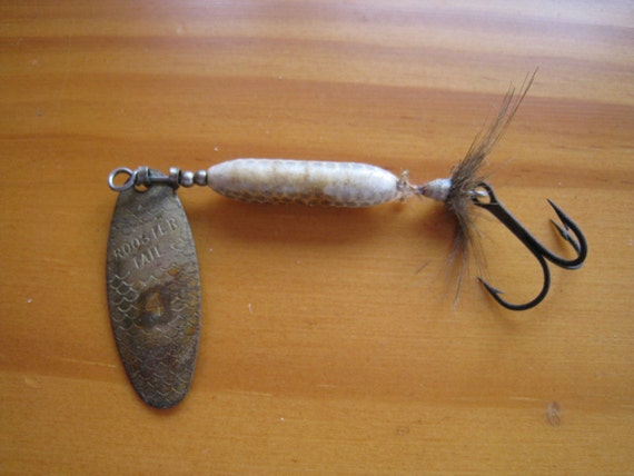 vintage rooster tail fishing lure by rockislanddesigns on etsy