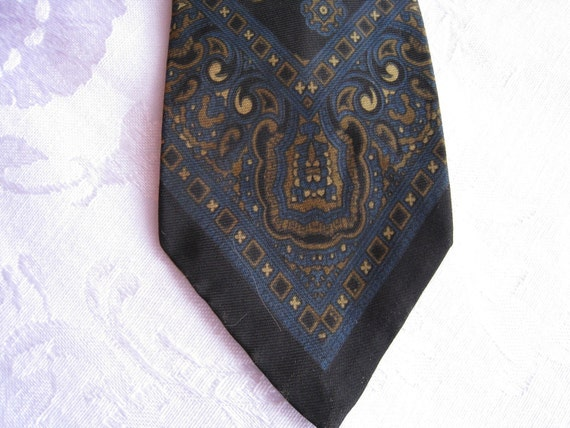 Vintage Silk Black Tie with a Blue and Green Design