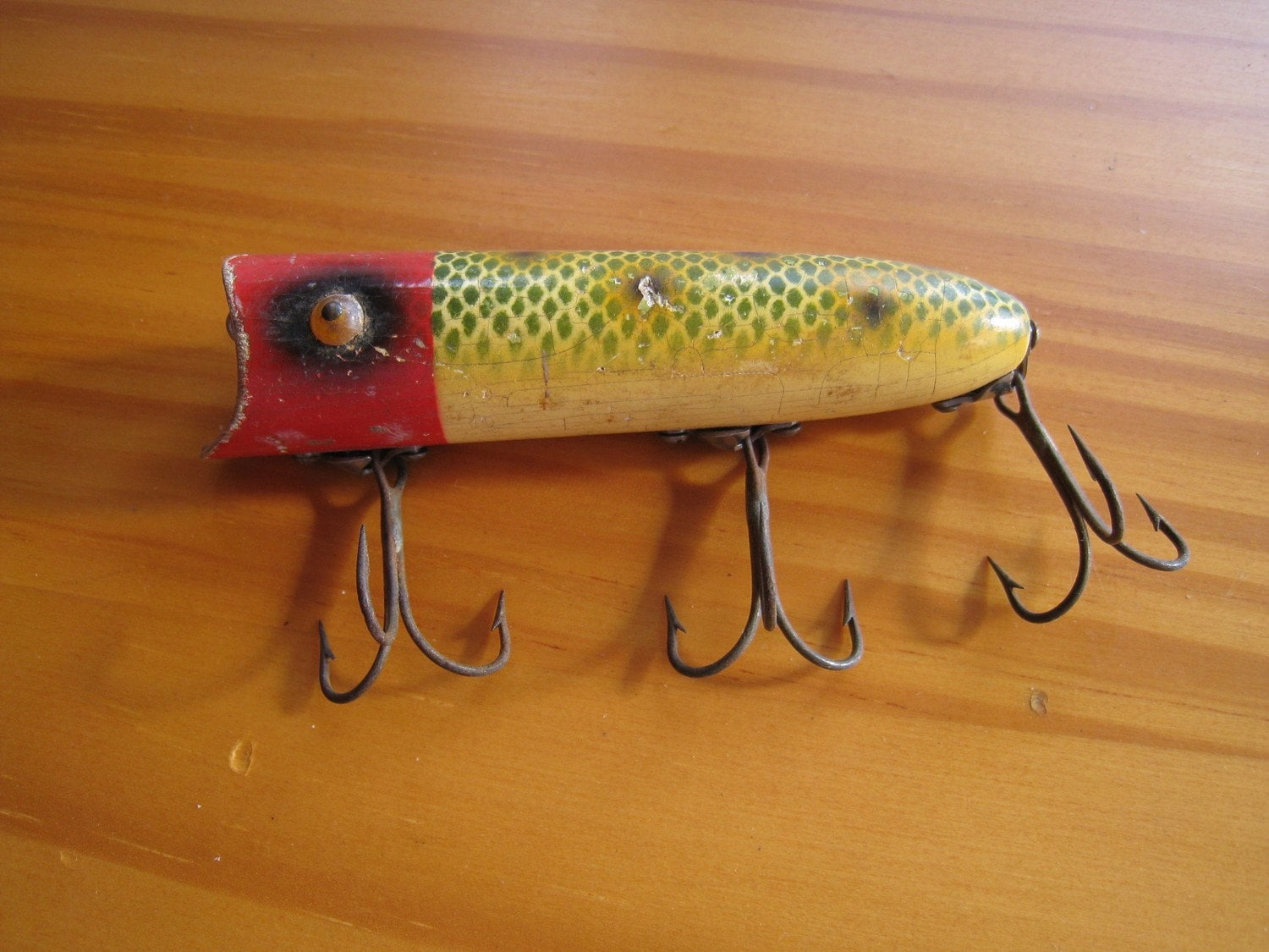 Vintage Heddon Wood Lucky 13 Fishing Lure