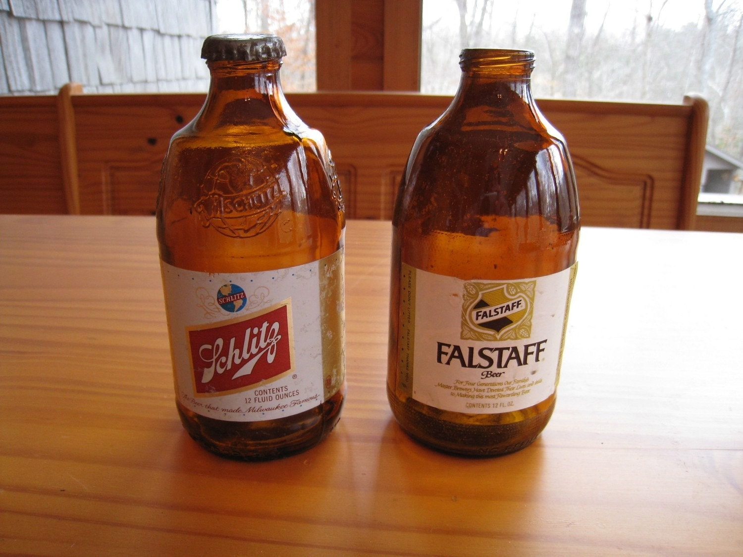 Vintage Schlitz and Falstaff Beer Bottles