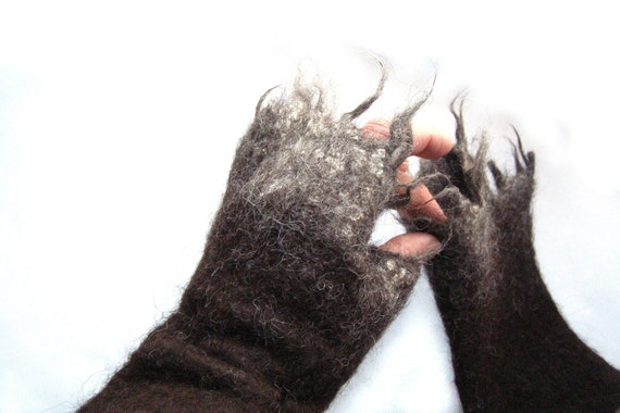 Felted Mittens Alpaca  / brown / white / chocolate / coffee / espresso / cocoa / umber / gift under 50