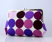 Purple Disco Dots Large Frame Clutch / Everyday Clutch Purse - the Agnes Style Clutch