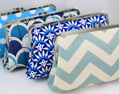 Bridesmaid Clutch - Blue Color Scheme - 8 inches Large Frame Clutch - Set of 4 (the Christine Style)