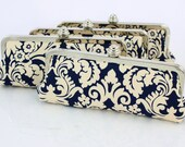 Limited Edition - Navy Damask - 8 inches Bridal and Bridesmaid's Silver Slim Frame Clutch - Set of 4 (with Removable Loops Chain Strap)