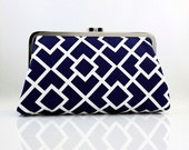 Navy & White Geometric Shapes - 8 inches Large Silver Frame Clutch - the Christine Clutch