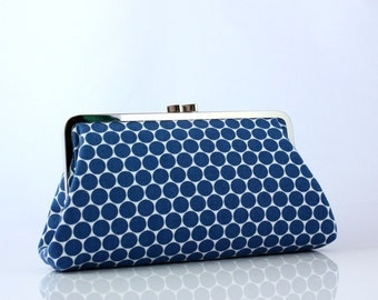 Blue Polka Dots - 8 inches Large Silver Frame Clutch - the Christine Clutch