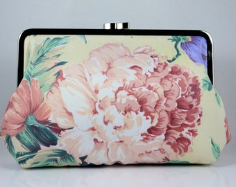 Pink Floral Pattern Elegant Clutch / Wedding Clutch - the Agnes Style Clutch