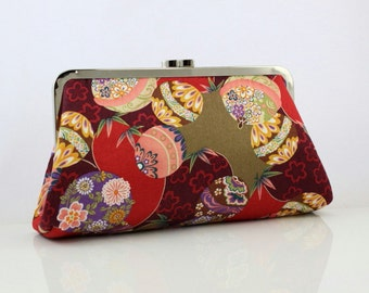 Bridesmaid Clutch - Kimono Floral Pattern - 8 inches Large Silver Frame Clutch - the Christine Clutch