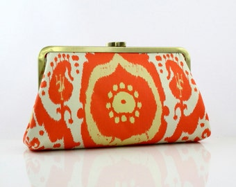 Love in Autumn Bridesmaid Clutch / Orange Wedding Clutch Purse - the Christine Style Clutch