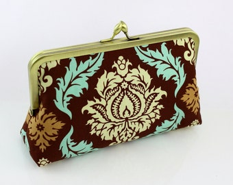 Coffee Damask Bridesmaid Clutch / Wedding Purse - the Florence Style Clutch