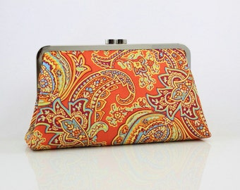 Orange Paisley Pattern - 8 inches Bridesmaid Clutch - the Christine Style Clutch