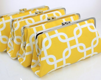 Lemon Yellow Gotcha - 8 inches Bridal and Bridesmaid's Silver Frame Clutches - Set of 4