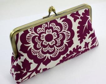 Purple Flower Bridesmaid Clutch / Wedding Purse / Wedding Gift - the Florence Style Clutch