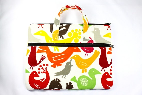 Handmade Laptop Tote 13 inch Cases fits up to Macbook-Colorful Birds Pattern