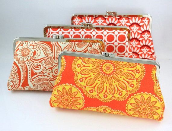 Bridesmaid Clutch - Orange Color Scheme - 8 inches Large Frame Clutch - Set of 4 (the Christine Style)