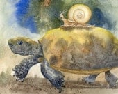 Print 8 by 10 turtle bowman open edition Wheeee tortoise humor with snail NOT escargot
