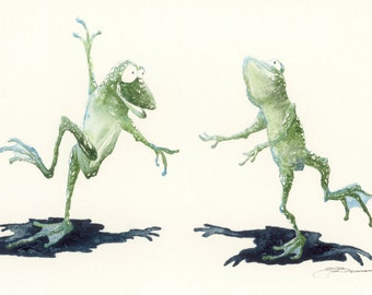 Print open edition 8 by 10 Florida green tree frog Hopiness dancing amphibians
