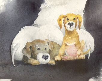 Original watercolor 9 x 12 Dog bowman Little Terriers In Big Trouble puppy humor cat paws