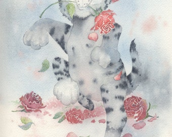 Original Watercolor 9 x 12 Cat Conquering Roses kitten silver tabby red roses humor cute
