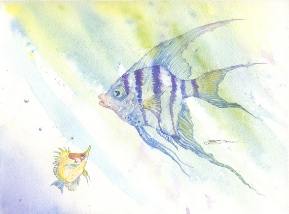 Watercolor original 9 x 12 angelfish butterfly fish bowman When Larry Met Angel ocean sea cute