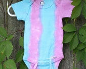 0-3m Pink and Turquoise Stripe Tie Dye Onesie (001)