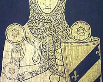 Gold Knight Sir William Fitzralph, Historical Brass Rubbing.....MARKED DOWN 25%..Free Shipping