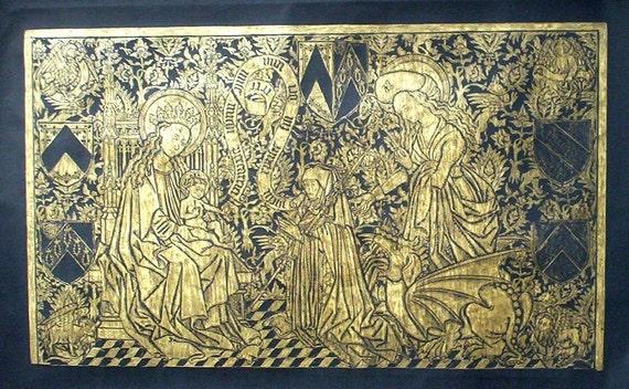Brass Rubbing   Abbess memorial / from Nivelles Abbey, Belgium c 1400....