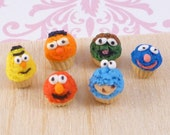 Miniature Dollhouse Sesame Street Character Cupcakes