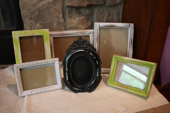 Lime,Black and White Shabby Chic Distressed Set of 6 Picture Frames