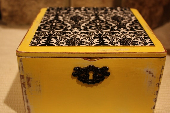 Shabby Chic Black Velvet and Yellow Cigar Box