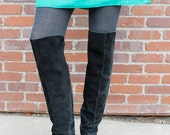 1980's BOHO Black Suede OVER The KNEE Pirate Slouchy Boots (Sz. 8.5 or 9)