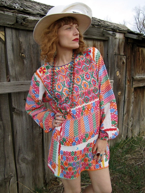 Gorgeous Mexican Embroidered Mini Dress or Tunic