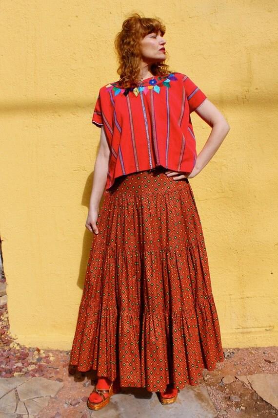 SALE.....1970's Boho FRIDA KHALO  Red Peasant Maxi Skirt