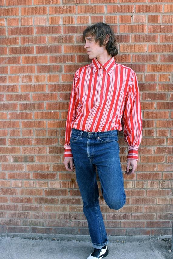 SALE.................1960's Men's Red& White Striped Shirt The PETE TOWNSEND Mod Shirt Virgin Vintage