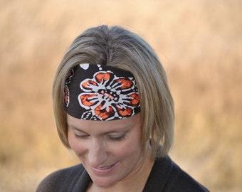 Performance Headband |Workout Headband | Fitness Headband | Yoga Headband | Brown Floral
